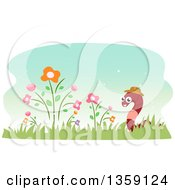 Clipart Of A Happy Earthworm Wearing A Hat In A Flower Garden Royalty Free Vector Illustration