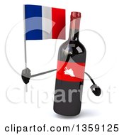 Clipart Of A 3d Wine Bottle Mascot Holding A French Flag On A White Background Royalty Free Illustration