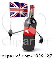 Clipart Of A 3d Wine Bottle Mascot Holding A British Union Jack Flag On A White Background Royalty Free Illustration