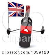 Clipart Of A 3d Wine Bottle Mascot Holding A British Union Jack Flag And Giving A Thumb Up On A White Background Royalty Free Illustration