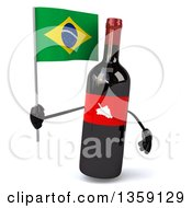 Clipart Of A 3d Wine Bottle Mascot Holding A Brazilian Flag On A White Background Royalty Free Illustration