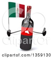 Clipart Of A 3d Wine Bottle Mascot Holding A Mexican Flag And Giving A Thumb Up On A White Background Royalty Free Illustration