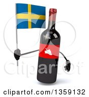Clipart Of A 3d Wine Bottle Mascot Holding A Swedish Flag On A White Background Royalty Free Illustration