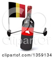 Clipart Of A 3d Wine Bottle Mascot Holding A Belgian Flag And Giving A Thumb Up On A White Background Royalty Free Illustration