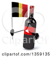 Clipart Of A 3d Wine Bottle Mascot Holding And Pointing To A Belgian Flag On A White Background Royalty Free Illustration
