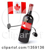 Clipart Of A 3d Wine Bottle Mascot Holding A Canadian Flag On A White Background Royalty Free Illustration