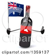 Clipart Of A 3d Wine Bottle Mascot Holding An Australian Flag And Giving A Thumb Up On A White Background Royalty Free Illustration