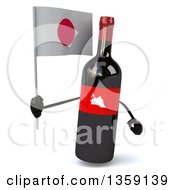 Clipart Of A 3d Wine Bottle Mascot Holding A Japanese Flag On A White Background Royalty Free Illustration