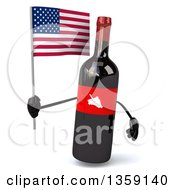 Clipart Of A 3d Wine Bottle Mascot Holding An American Flag On A White Background Royalty Free Illustration