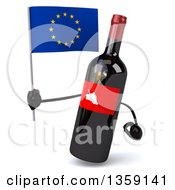 Clipart Of A 3d Wine Bottle Mascot Holding A European Flag On A White Background Royalty Free Illustration
