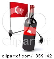 Clipart Of A 3d Wine Bottle Mascot Holding A Turkish Flag On A White Background Royalty Free Illustration