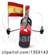 Clipart Of A 3d Wine Bottle Mascot Giving A Thumb Up And Holding A Spanish Flag On A White Background Royalty Free Illustration
