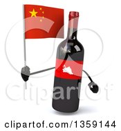 Clipart Of A 3d Wine Bottle Mascot Holding A Chinese Flag On A White Background Royalty Free Illustration