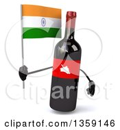 Clipart Of A 3d Wine Bottle Mascot Holding An Indian Flag On A White Background Royalty Free Illustration