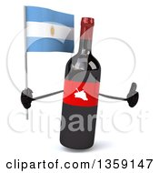 Clipart Of A 3d Wine Bottle Mascot Holding An Argentine Flag And Giving A Thumb Up On A White Background Royalty Free Illustration