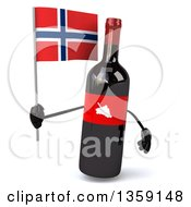 Clipart Of A 3d Wine Bottle Mascot Holding A Norwegian Flag On A White Background Royalty Free Illustration