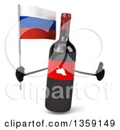 Clipart Of A 3d Wine Bottle Mascot Holding A Russian Flag And Giving A Thumb Up On A White Background Royalty Free Illustration