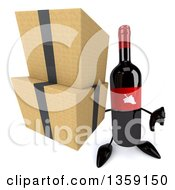 Clipart Of A 3d Wine Bottle Mascot Holding Up A Thumb Down And Boxes On A White Background Royalty Free Illustration