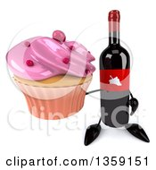 Clipart Of A 3d Wine Bottle Mascot Holding Up A Cupcake On A White Background Royalty Free Illustration