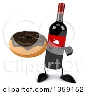 Clipart Of A 3d Wine Bottle Mascot Holding And Pointing To A Donut On A White Background Royalty Free Illustration