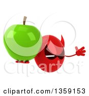Clipart Of A 3d Red Devil Head Holding A Green Apple And Jumping On A White Background Royalty Free Illustration