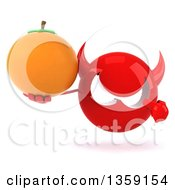 Clipart Of A 3d Red Devil Head Holding And Pointing To A Navel Orange On A White Background Royalty Free Illustration