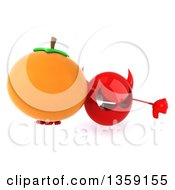 Clipart Of A 3d Red Devil Head Holding Up A Navel Orange And Thumb Down On A White Background Royalty Free Illustration