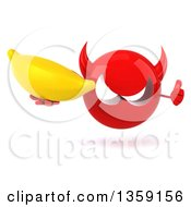 Clipart Of A 3d Red Devil Head Holding A Banana And Giving A Thumb Up On A White Background Royalty Free Illustration