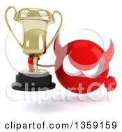 Clipart Of A 3d Red Devil Head Holding And Pointing To A Trophy On A White Background Royalty Free Illustration