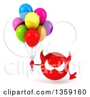 Clipart Of A 3d Red Devil Head Holding Party Balloons On A White Background Royalty Free Illustration