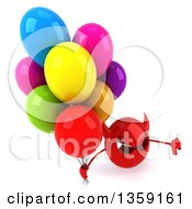 Clipart Of A 3d Red Devil Head Holding Up A Thumb Down And Party Balloons On A White Background Royalty Free Illustration
