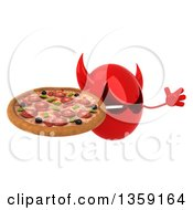 Clipart Of A 3d Red Devil Head Holding A Pizza And Jumping On A White Background Royalty Free Illustration