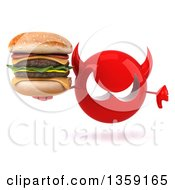 Clipart Of A 3d Red Devil Head Holding A Double Cheeseburger And Giving A Thumb Down On A White Background Royalty Free Illustration