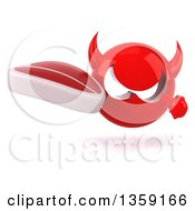 Clipart Of A 3d Red Devil Head Holding And Pointing To A Beef Steak On A White Background Royalty Free Illustration