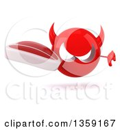 Clipart Of A 3d Red Devil Head Holding A Beef Steak And Giving A Thumb Down On A White Background Royalty Free Illustration