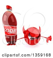 Clipart Of A 3d Red Devil Head Holding Up A Thumb Down And A Soda Bottle On A White Background Royalty Free Illustration