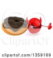 Clipart Of A 3d Red Devil Head Holding Up A Thumb And A Donut On A White Background Royalty Free Illustration