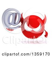 Clipart Of A 3d Red Devil Head Holding An Email Arobase At Symbol On A White Background Royalty Free Illustration