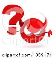 Clipart Of A 3d Red Devil Head Holding A Question Mark And Giving A Thumb Down On A White Background Royalty Free Illustration
