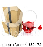 Clipart Of A 3d Red Devil Head Holding Up Boxes And A Thumb On A White Background Royalty Free Illustration