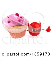 Clipart Of A 3d Red Devil Head Holding Up A Thumb And A Cupcake On A White Background Royalty Free Illustration