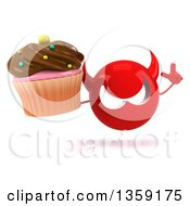 Clipart Of A 3d Red Devil Head Holding Up A Finger And A Cupcake On A White Background Royalty Free Illustration