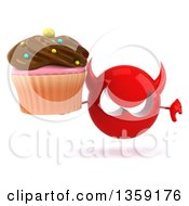Clipart Of A 3d Red Devil Head Holding A Cupcake And Giving A Thumb Down On A White Background Royalty Free Illustration