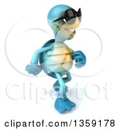 Clipart Of A 3d Blue Tortoise Wearing Sunglasses And Walking On A White Background Royalty Free Illustration
