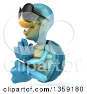 Clipart Of A 3d Blue Tortoise Wearing Sunglasses And Meditating On A White Background Royalty Free Illustration