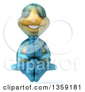 Clipart Of A 3d Blue Tortoise Meditating On A White Background Royalty Free Illustration by Julos