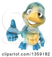 3d Blue Tortoise Holding Up A Thumb On A White Background