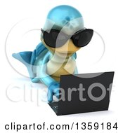 Clipart Of A 3d Blue Tortoise Wearing Sunglasses And Using A Laptop Computer On The Floor On A White Background Royalty Free Illustration