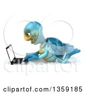 Clipart Of A 3d Blue Tortoise Using A Laptop Computer On The Floor On A White Background Royalty Free Illustration