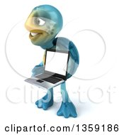 Clipart Of A 3d Blue Tortoise Holding A Laptop Computer On A White Background Royalty Free Illustration